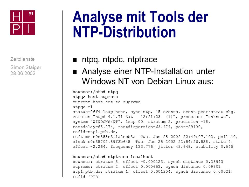 Analyse mit Tools der NTP-Distribution