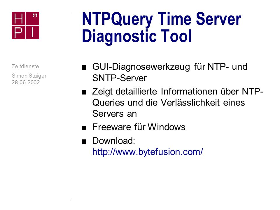 NTPQuery Time Server Diagnostic Tool