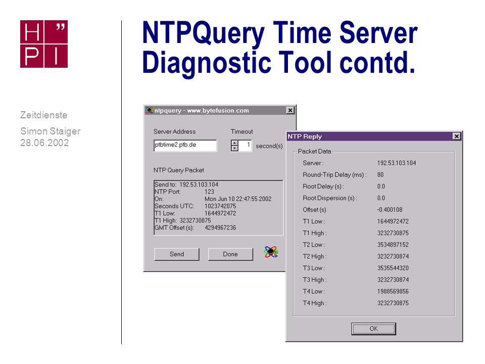 NTPQuery Time Server Diagnostic Tool contd.