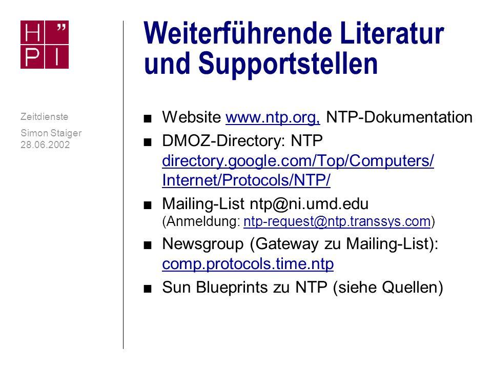 Weiterführende Literatur und Supportstellen