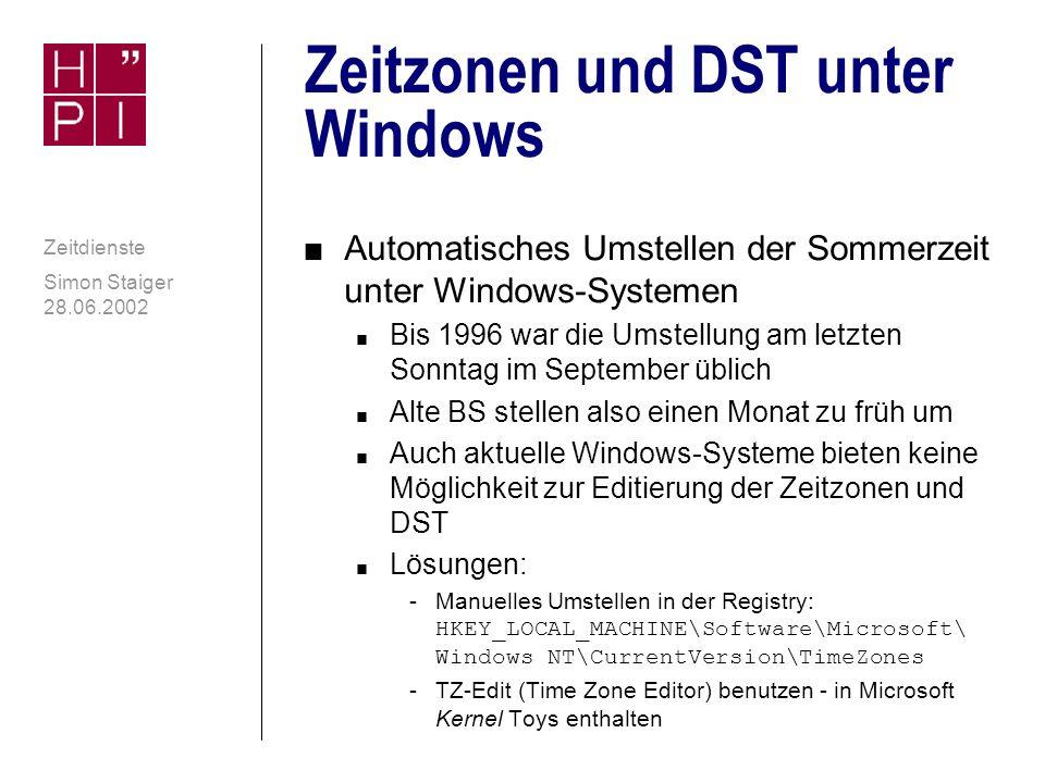 Zeitzonen und DST unter Windows