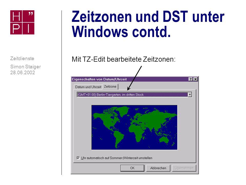 Zeitzonen und DST unter Windows contd.