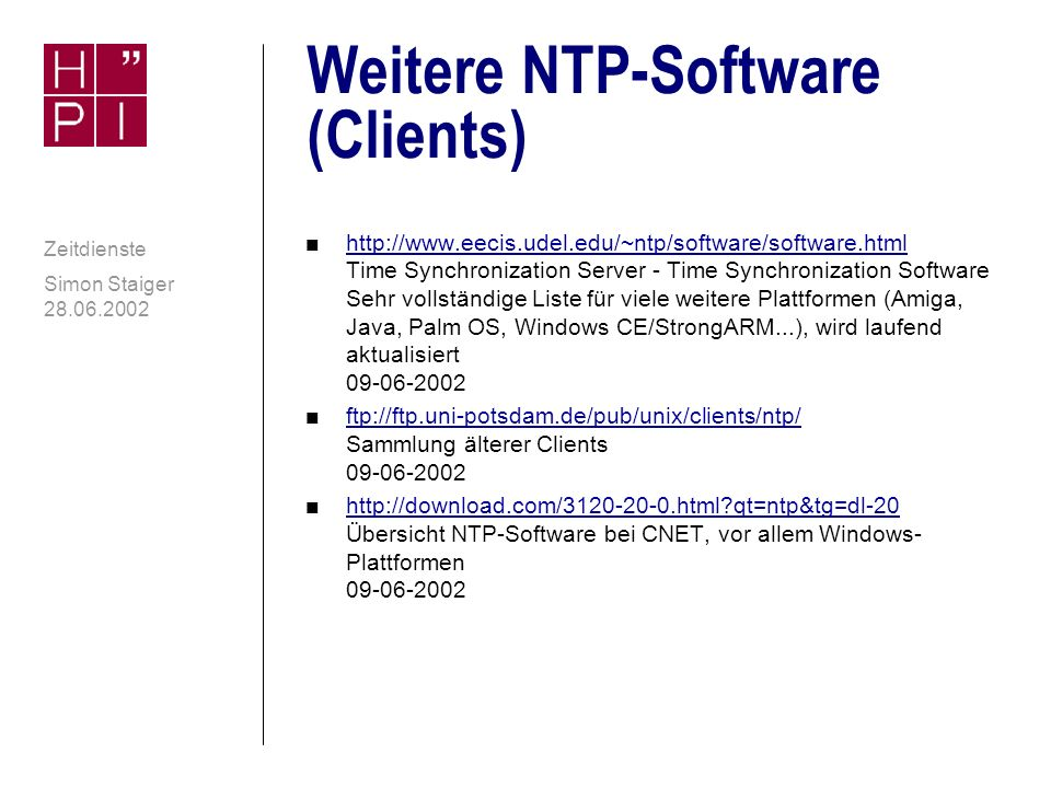 Weitere NTP-Software (Clients)