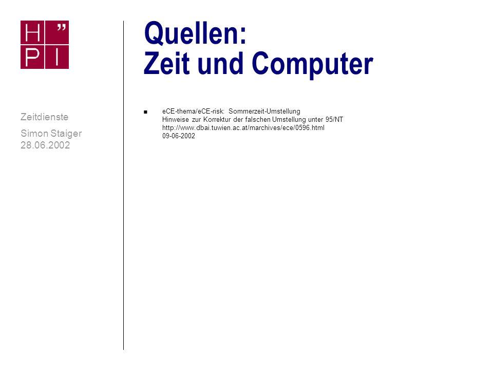 Quellen: Zeit und Computer