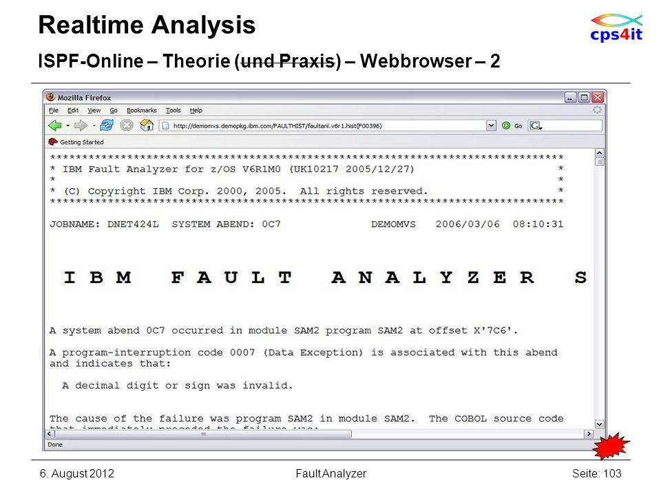 Realtime Analysis ISPF-Online – Theorie (und Praxis) – Webbrowser – 2