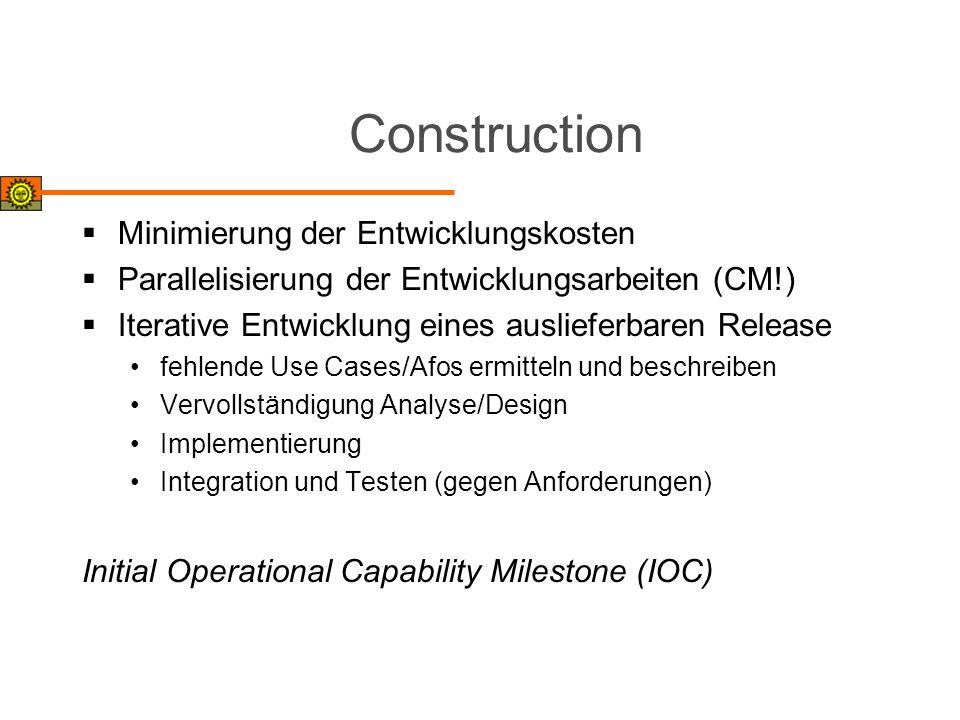 Construction Minimierung der Entwicklungskosten
