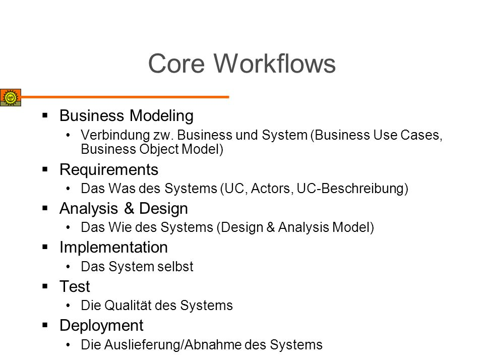 Core Workflows Business Modeling Requirements Analysis & Design