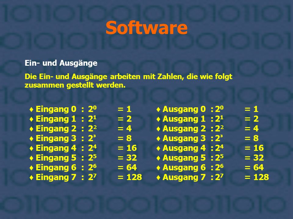 Software ♦ Eingang 0 : 20 = 1 ♦ Eingang 1 : 21 = 2