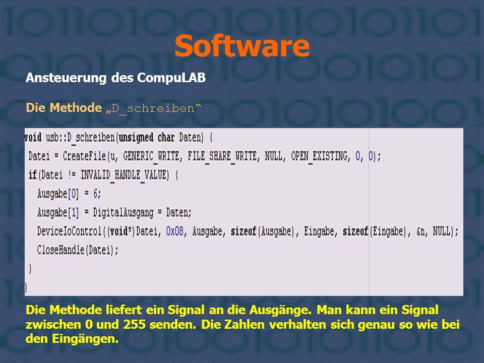"""Software Ansteuerung des CompuLAB Die Methode """"D_schreiben"""