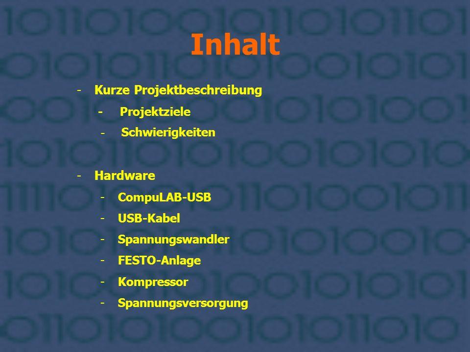 Inhalt Kurze Projektbeschreibung Hardware - Projektziele