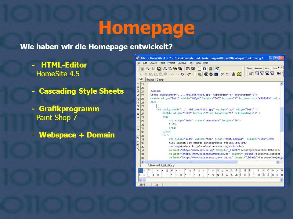 Homepage Wie haben wir die Homepage entwickelt - HTML-Editor