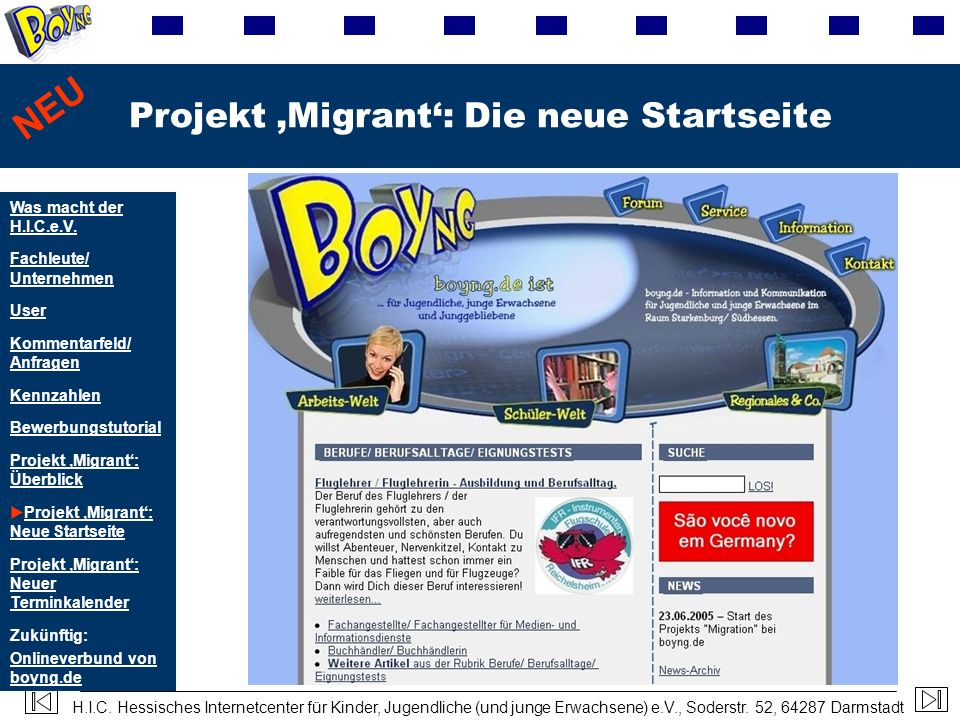 Projekt 'Migrant': Die neue Startseite