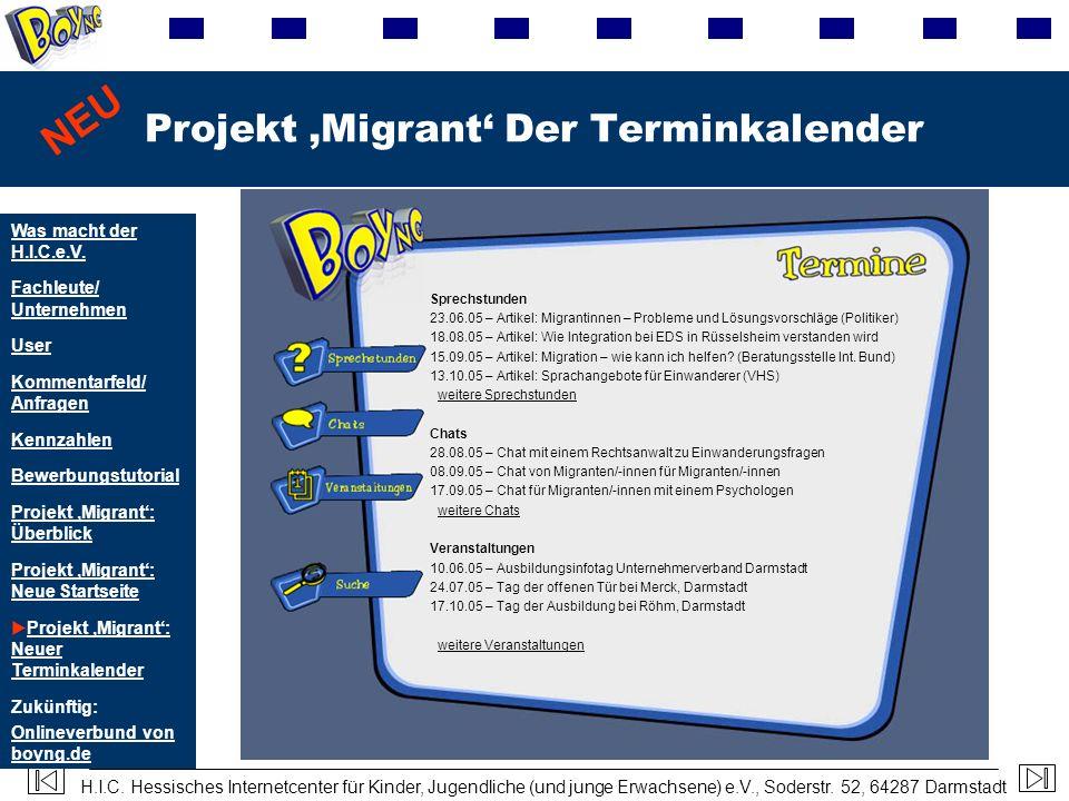 Projekt 'Migrant' Der Terminkalender