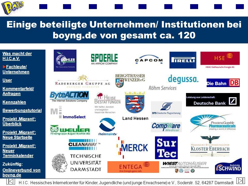 Einige beteiligte Unternehmen/ Institutionen bei boyng