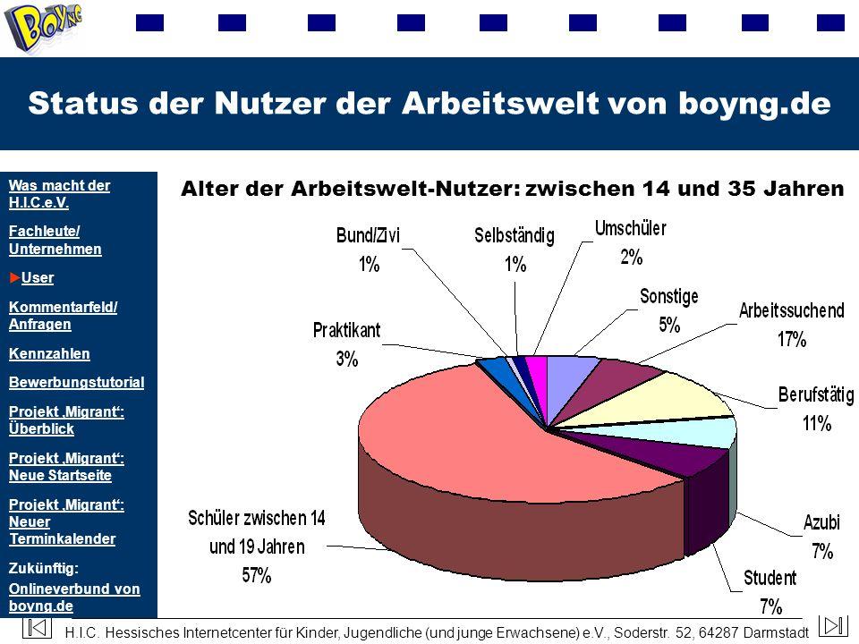 Status der Nutzer der Arbeitswelt von boyng.de