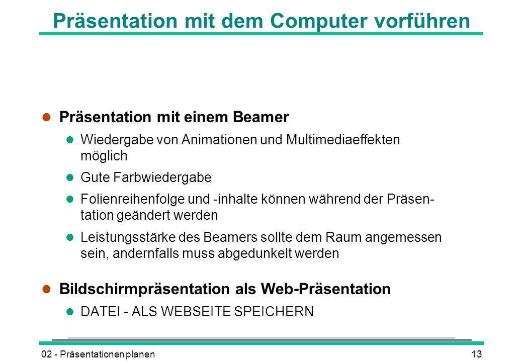 Präsentation mit dem Computer vorführen