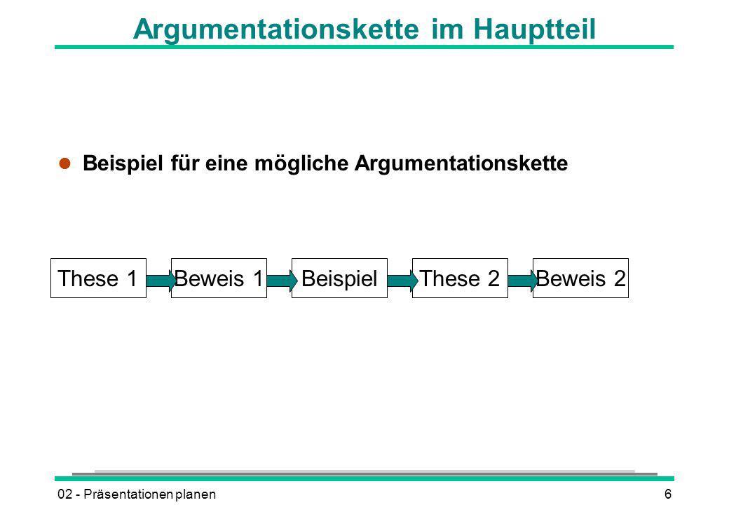 Argumentationskette im Hauptteil