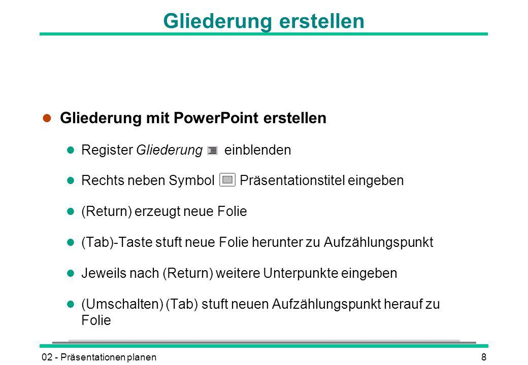 Gliederung erstellen Gliederung mit PowerPoint erstellen