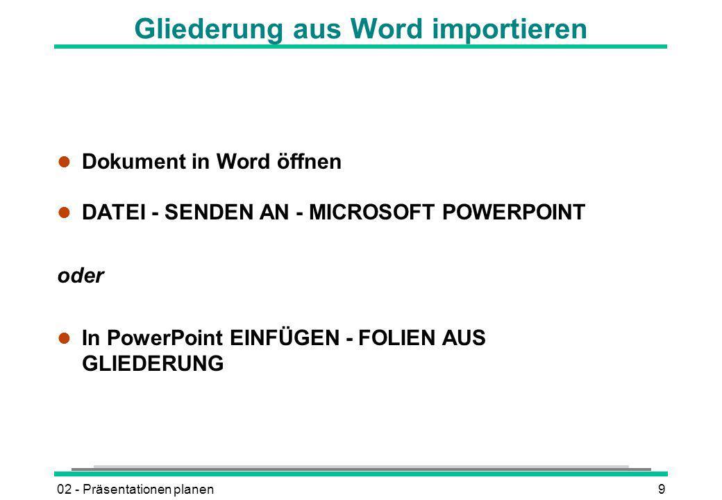 Gliederung aus Word importieren