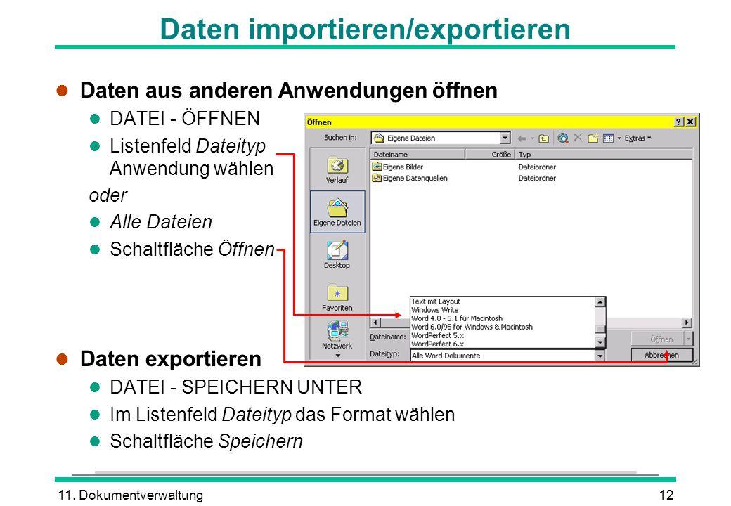 Daten importieren/exportieren