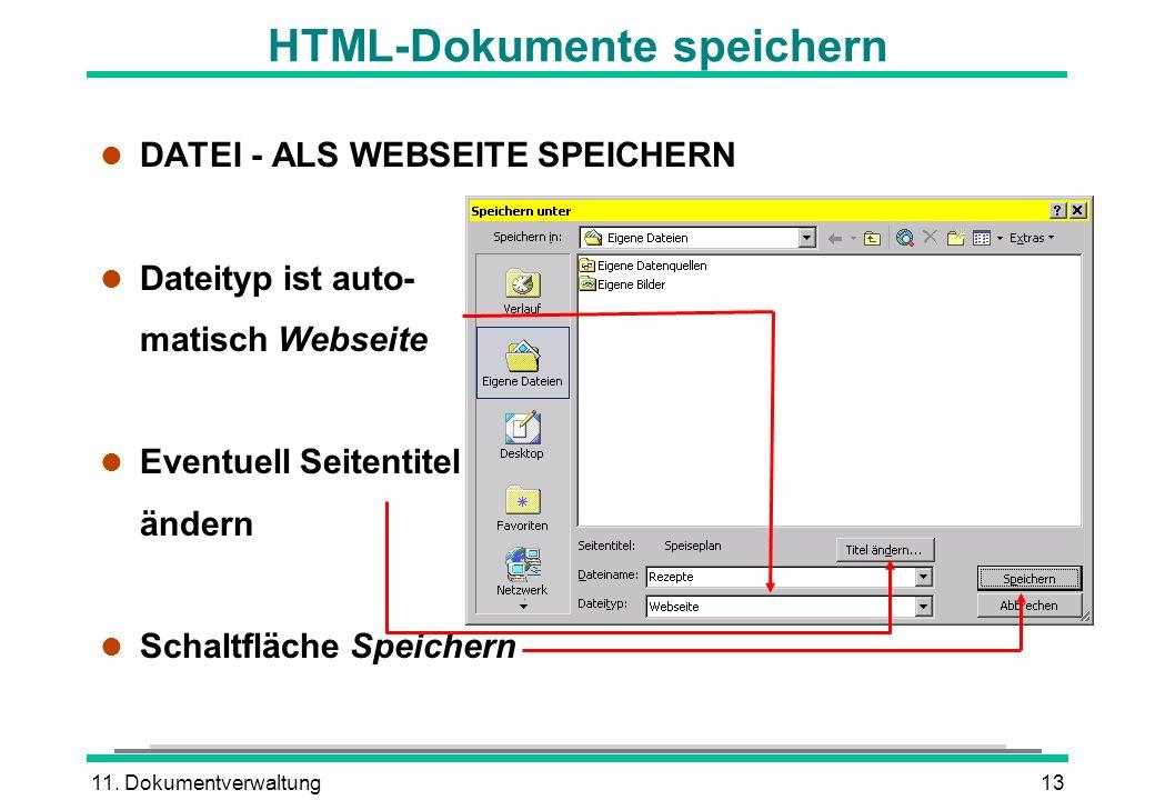 HTML-Dokumente speichern