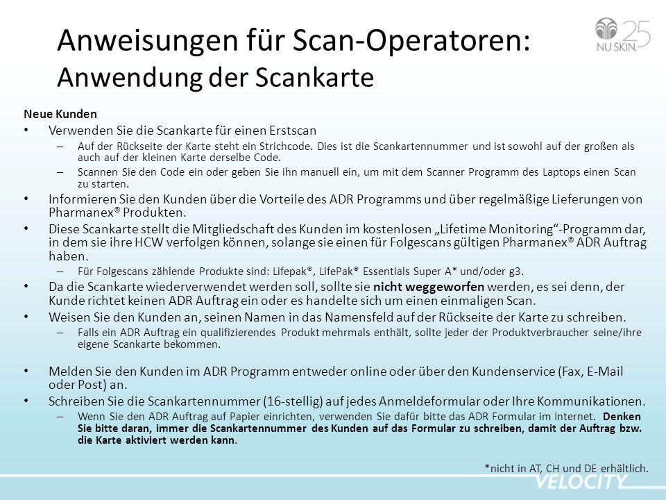 Anweisungen für Scan-Operatoren: Anwendung der Scankarte