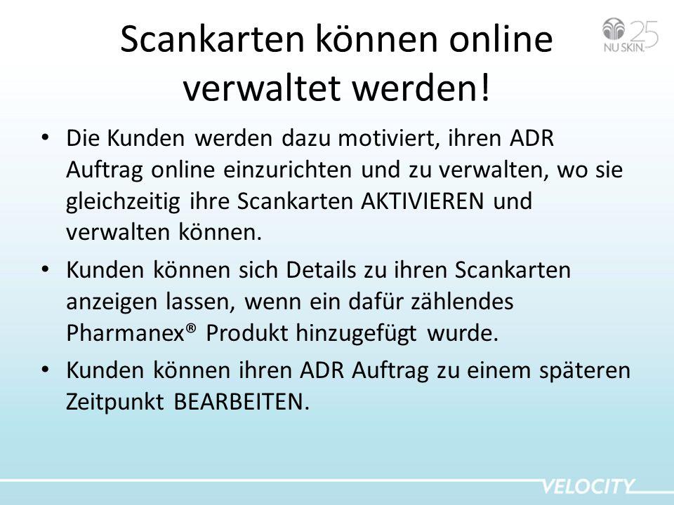 Scankarten können online verwaltet werden!