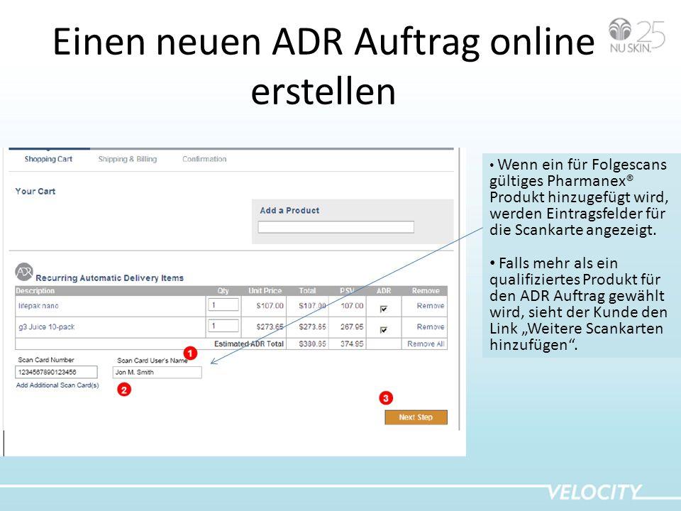 Einen neuen ADR Auftrag online erstellen