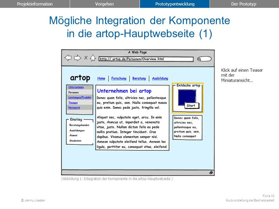 Mögliche Integration der Komponente in die artop-Hauptwebseite (1)