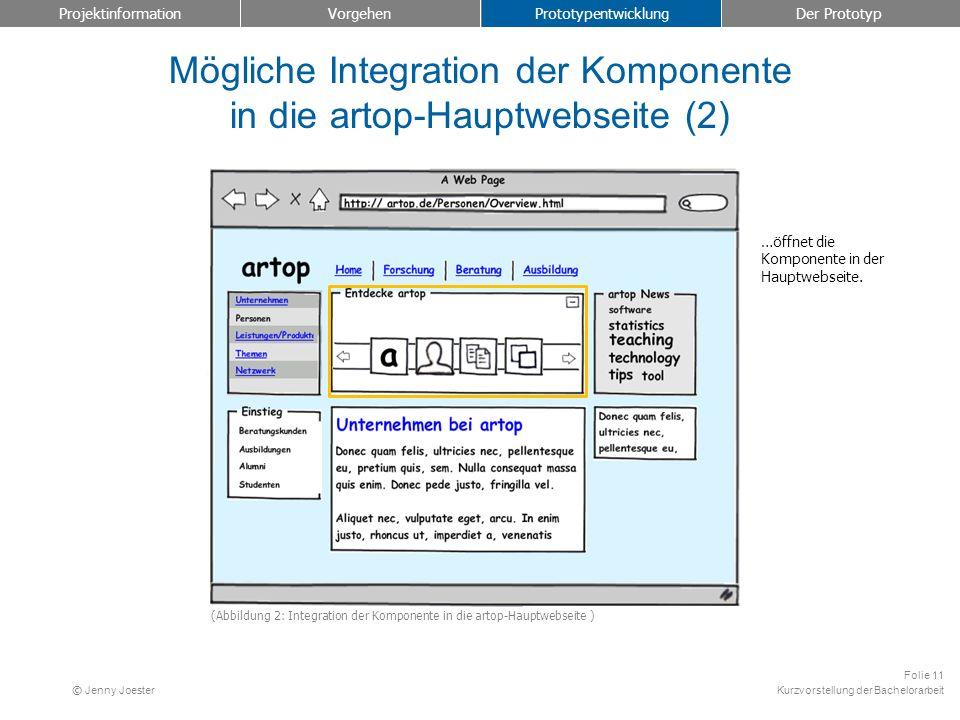 Mögliche Integration der Komponente in die artop-Hauptwebseite (2)
