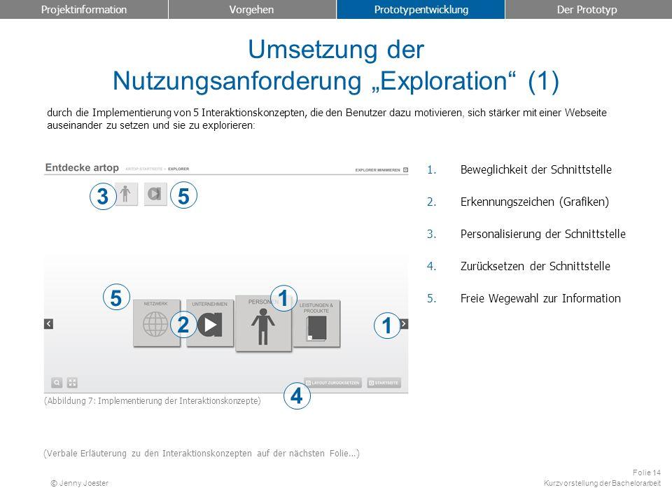 """Umsetzung der Nutzungsanforderung """"Exploration (1)"""