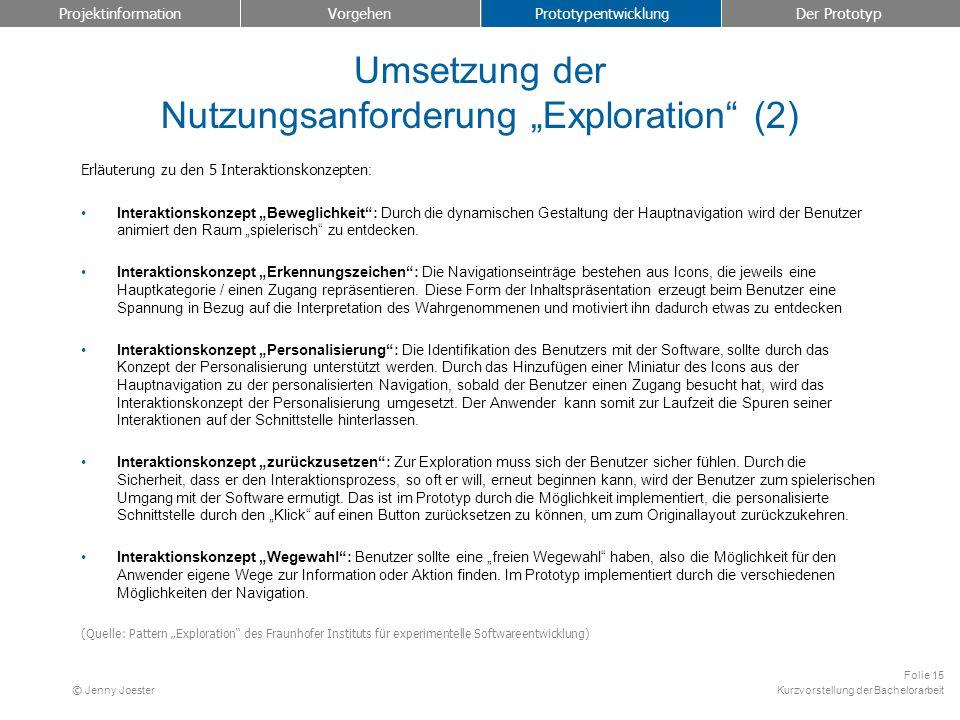"""Umsetzung der Nutzungsanforderung """"Exploration (2)"""