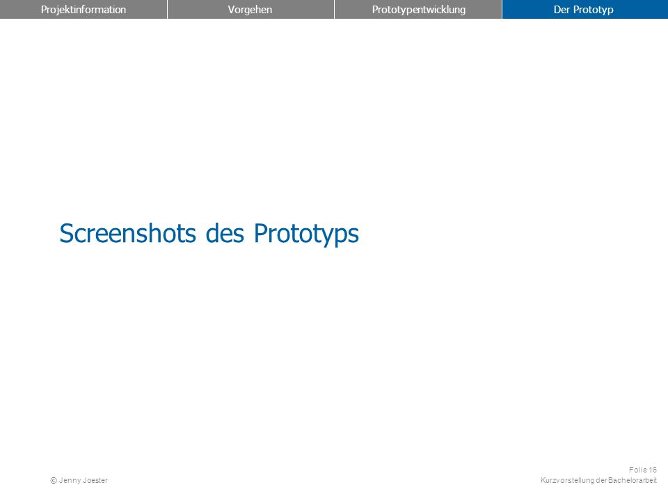 Screenshots des Prototyps