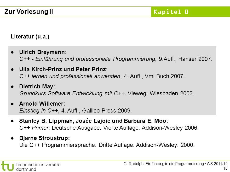 Zur Vorlesung II Literatur (u.a.)