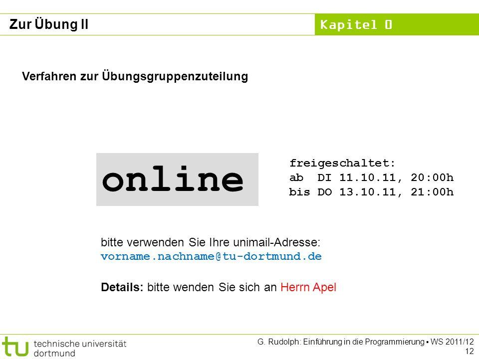 online Zur Übung II Verfahren zur Übungsgruppenzuteilung