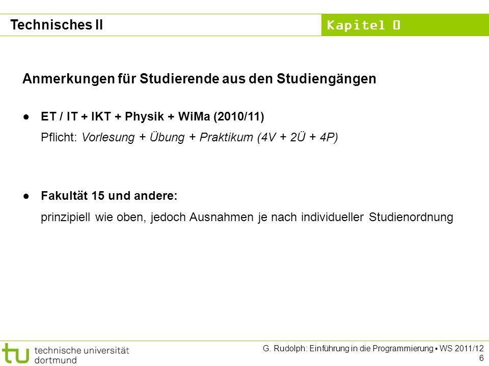 Anmerkungen für Studierende aus den Studiengängen
