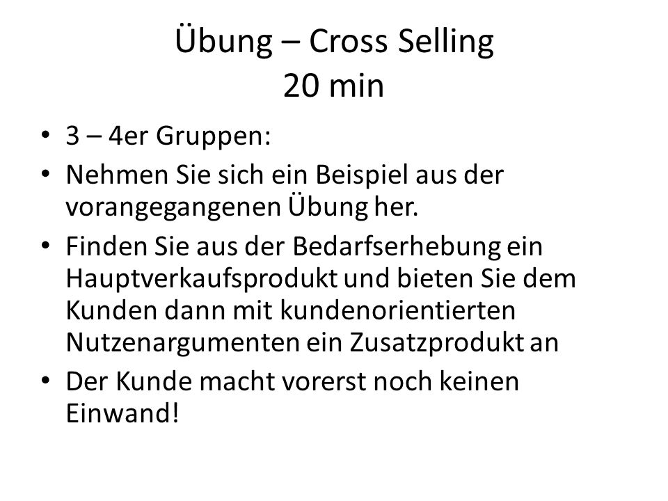 Übung – Cross Selling 20 min