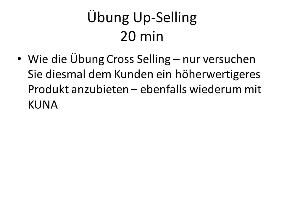 Übung Up-Selling 20 min