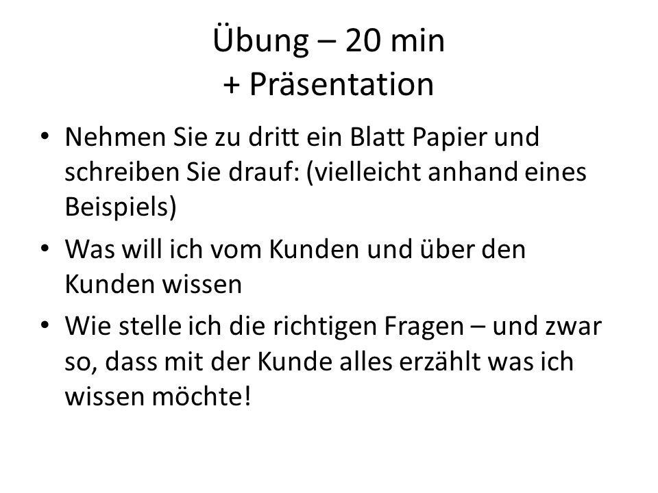 Übung – 20 min + Präsentation