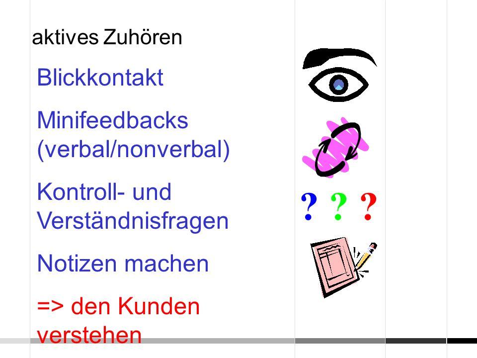 Blickkontakt Minifeedbacks (verbal/nonverbal)