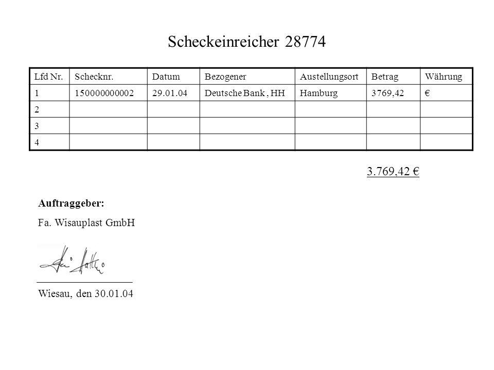 Scheckeinreicher 28774 3.769,42 € Auftraggeber: Fa. Wisauplast GmbH