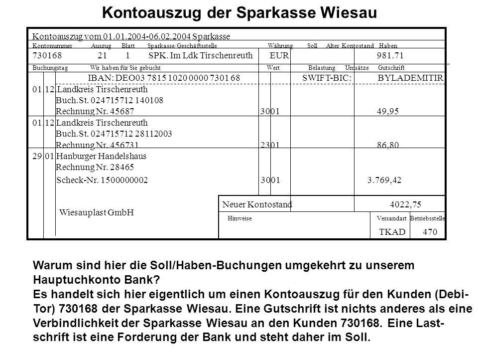 Kontoauszug der Sparkasse Wiesau