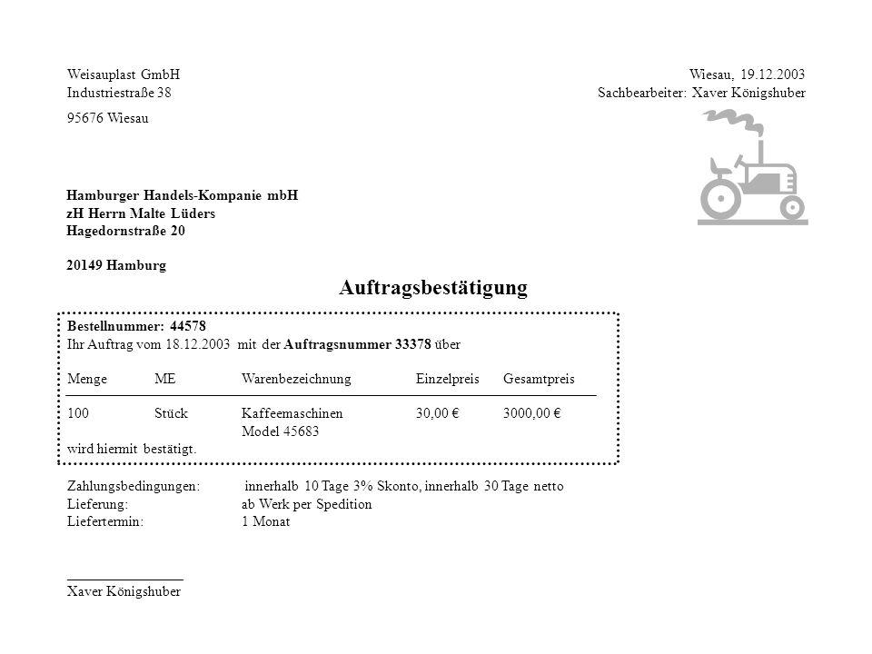 Auftragsbestätigung Weisauplast GmbH Industriestraße 38