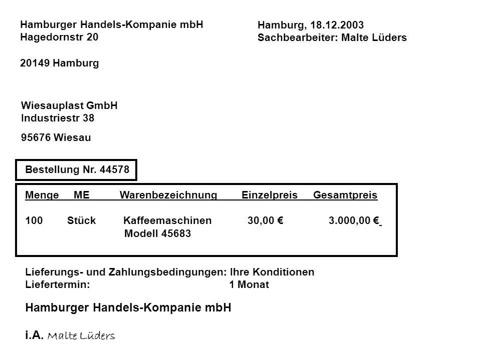 Hamburger Handels-Kompanie mbH i.A. Malte Lüders
