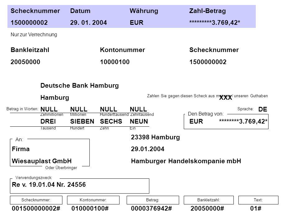 Schecknummer Datum Währung Zahl-Betrag