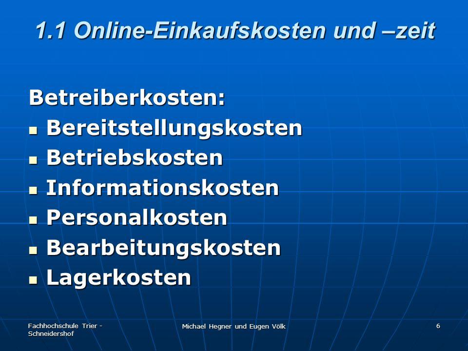 1.1 Online-Einkaufskosten und –zeit