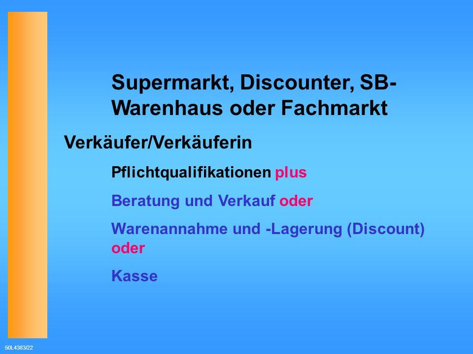 Supermarkt, Discounter, SB- Warenhaus oder Fachmarkt