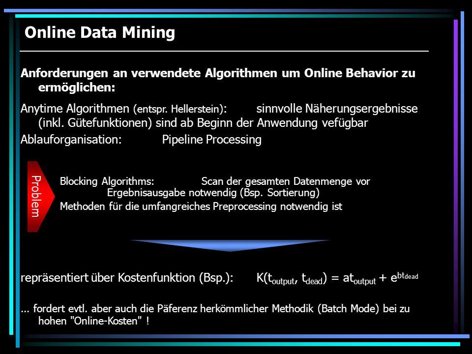 Online Data Mining Anforderungen an verwendete Algorithmen um Online Behavior zu ermöglichen: