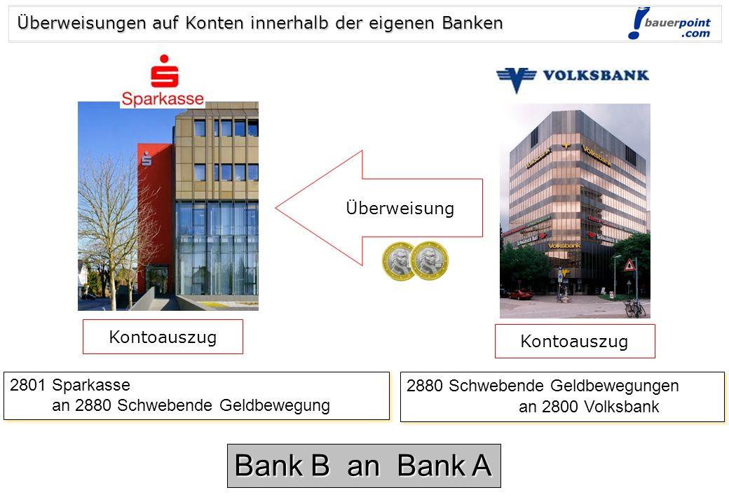 Bank B an Bank A Überweisungen auf Konten innerhalb der eigenen Banken