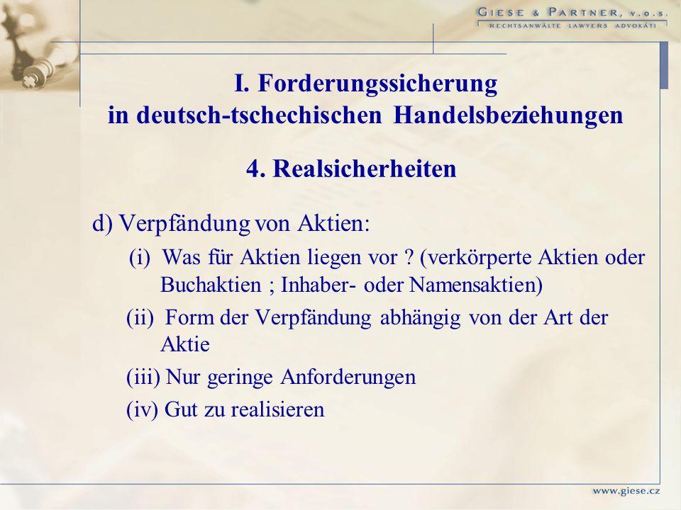 I. Forderungssicherung in deutsch-tschechischen Handelsbeziehungen